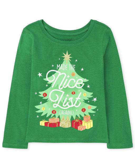 Baby and Toddler Girls Long Sleeve Christmas Nice List Graphic Tee
