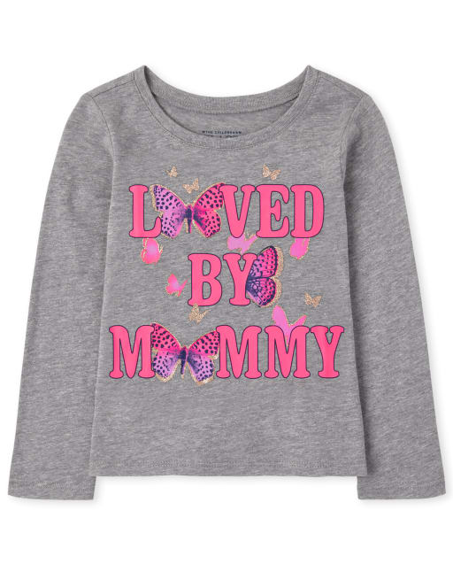 Baby and Toddler Girls Long Sleeve Loved By Mommy Graphic Tee