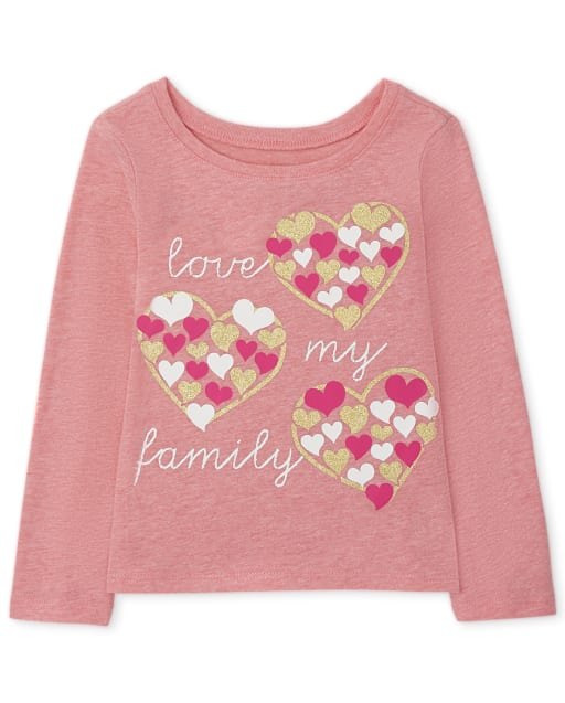 Baby and Toddler Girls Long Sleeve Family Graphic Tee