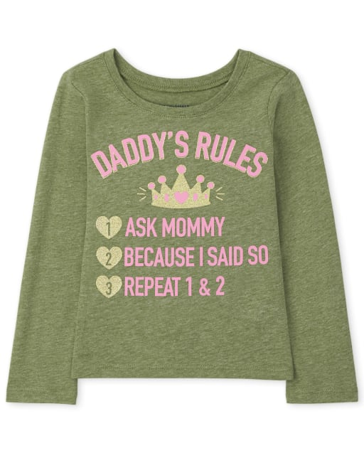Baby and Toddler Girls Long Sleeve Daddy's Rules Graphic Tee