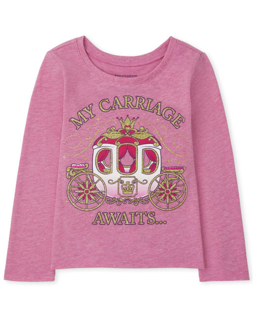 Baby and Toddler Girls Long Sleeve Carriage Graphic Tee