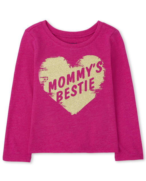 Baby and Toddler Girls Long Sleeve Mommy's Bestie Graphic Tee