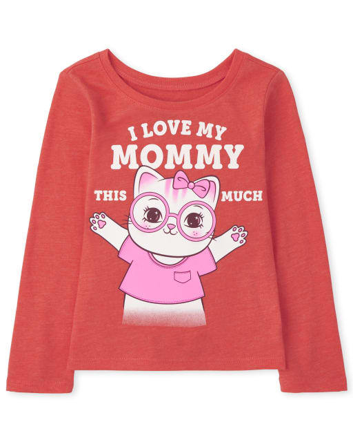 Baby and Toddler Girls Long Sleeve Love Mom Graphic Tee