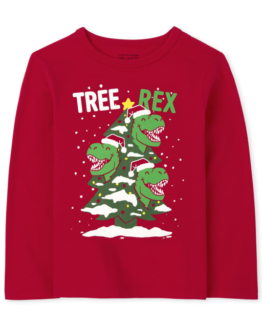 Baby and Toddler Boys Long Sleeve Christmas Tree Rex Graphic Tee