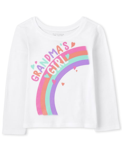 Camiseta estampada de manga larga para bebés y niñas pequeñas ' Grandma ' s Girl '