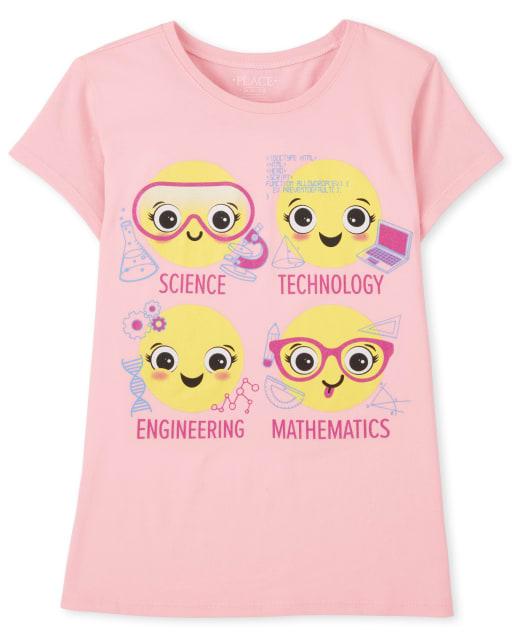 Camiseta con gráfico de emoji de la escuela para niñas