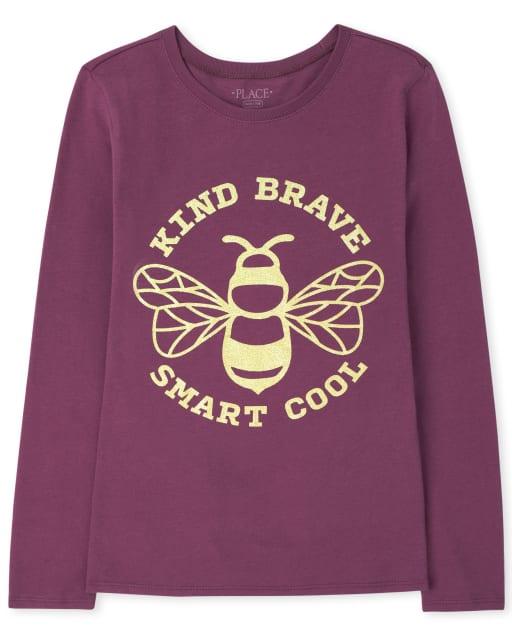Girls Long Sleeve Bee Kind Brave Smart Cool Graphic Tee