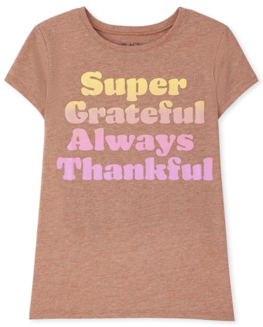 Girls Short Sleeve Thankful Graphic Tee