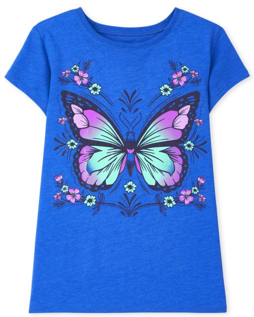 Girls Short Sleeve Butterfly Flower Graphic Tee