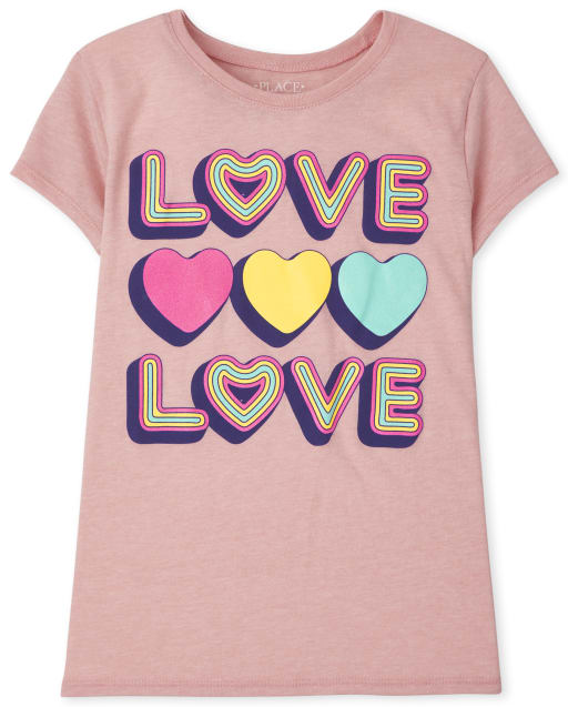 Girls Short Sleeve Love Love Graphic Tee