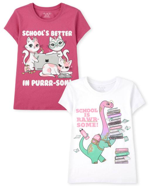 Pack de 2 camisetas con estampado escolar para niñas