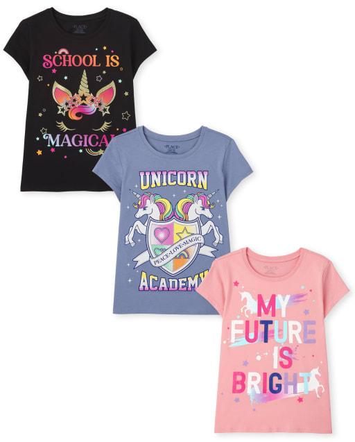 Paquete de 3 camisetas con estampado de unicornio para niñas