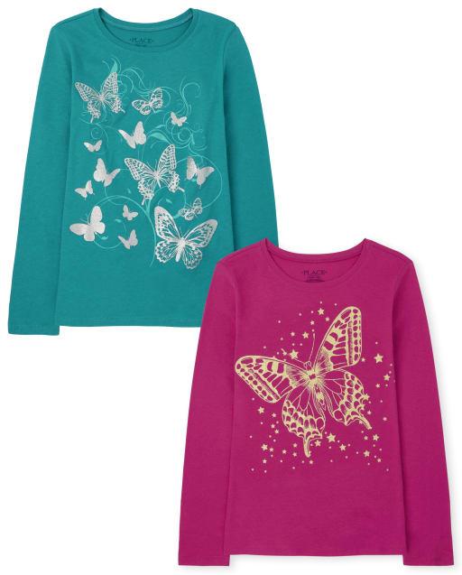 Pack de 2 camisetas con estampado de mariposas para niñas
