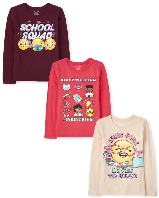 Pack de 3 camisetas estampadas escolares para niñas