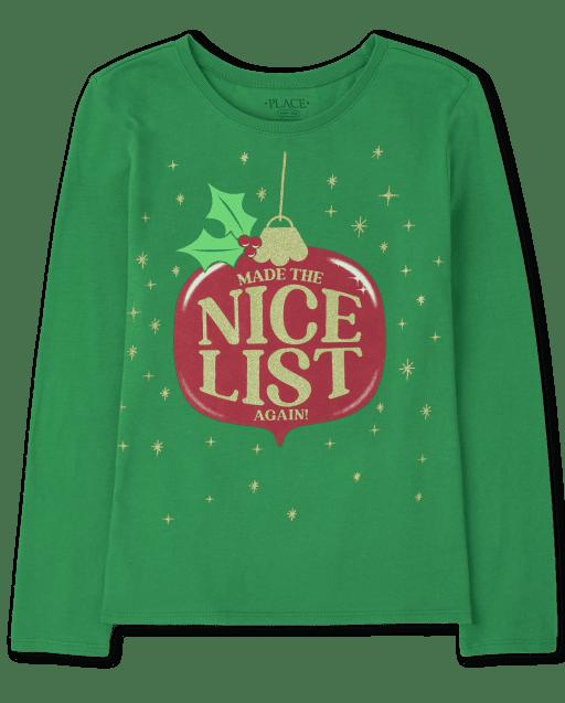 Girls Long Sleeve Christmas Nice List Again Graphic Tee