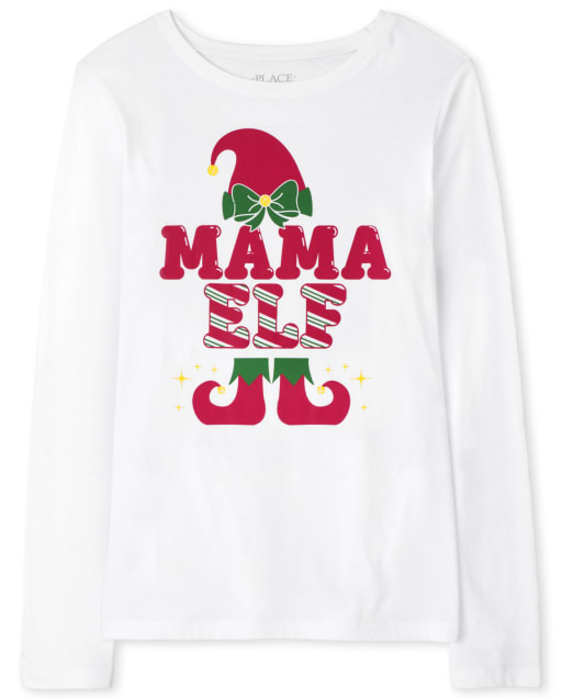 Womens Matching Family Long Sleeve Christmas Mama Elf Graphic Tee