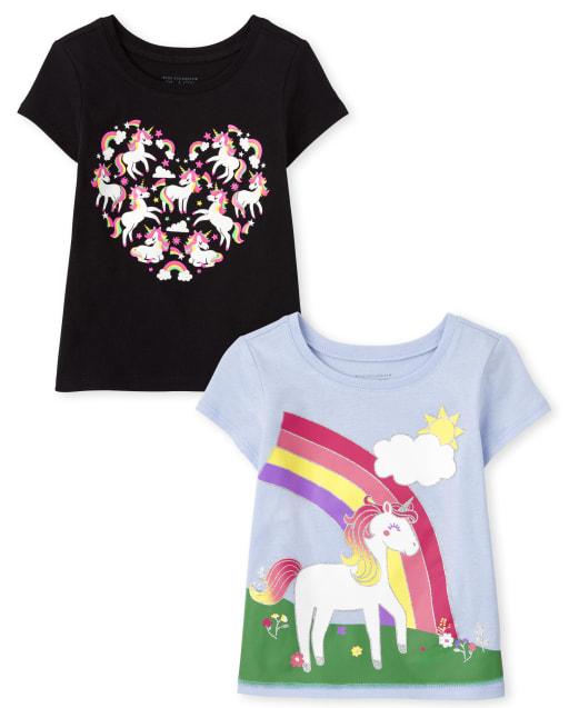 Paquete de 2 camisetas con estampado de unicornio para niñas pequeñas