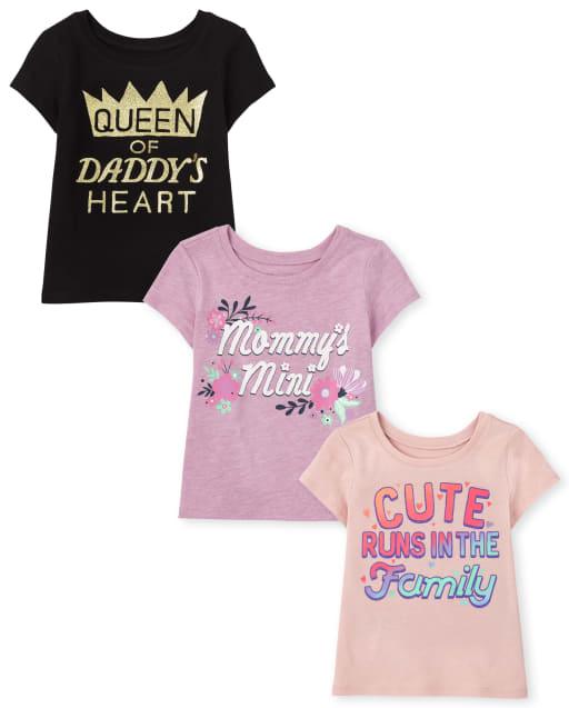 Paquete de 3 camisetas con estampado familiar de manga corta para niñas pequeñas