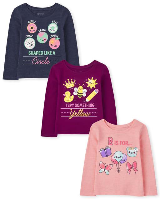Paquete de 3 camisetas estampadas escolares de manga larga para niñas pequeñas