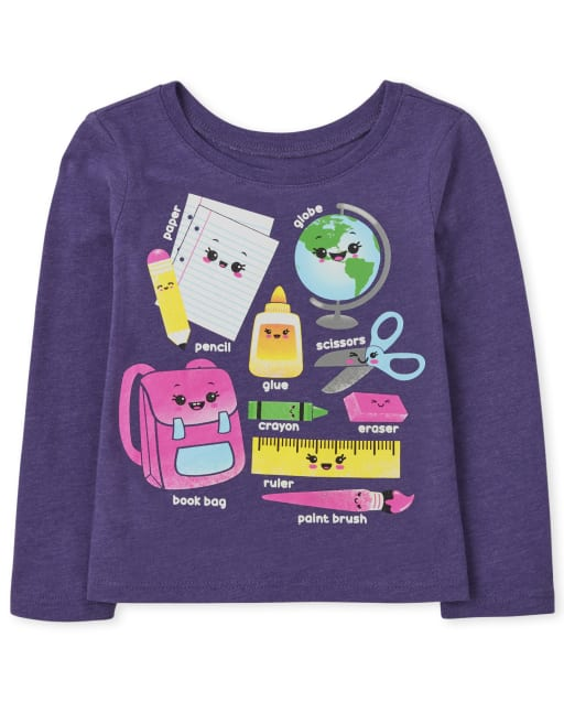 Baby and Toddler Girls Long Sleeve School Supplies Graphic Tee