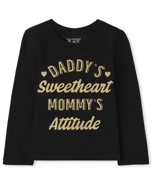 Baby and Toddler Girls Long Sleeve Sweetheart Attitude Graphic Tee