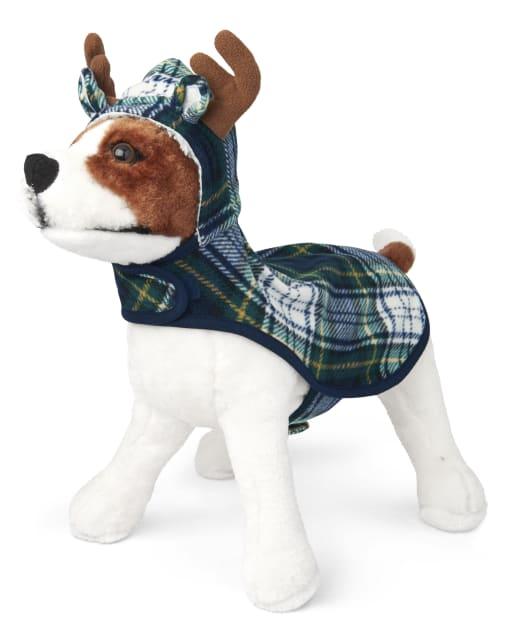 Pijamas con capucha de lana a cuadros de alces navideños familiares a juego para perros
