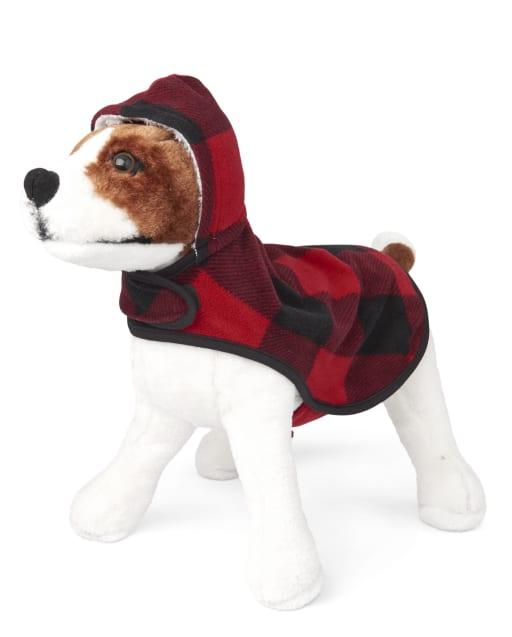 Pijama con capucha de lana a cuadros con diseño de búfalo y oso de Navidad familiar a juego para perros