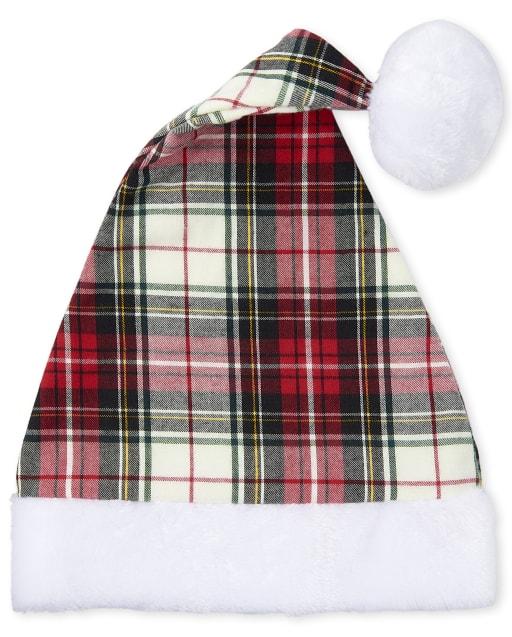 Sombrero de Papá Noel a cuadros de Navidad para niños unisex