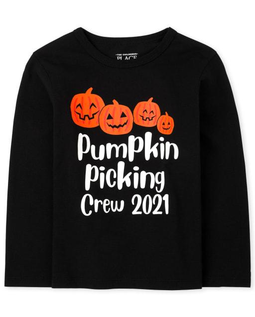 Unisex Toddler Matching Family Long Sleeve Pumpkin Picking Graphic Tee