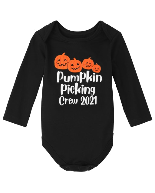 Unisex Baby Matching Family Long Sleeve Halloween Pumpkin Picking Graphic Bodysuit