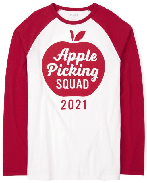 Camiseta unisex con estampado de manzana de manga larga familiar a juego para adultos