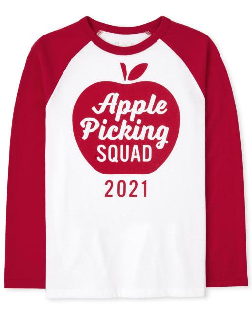 Camiseta unisex con estampado de manzana de manga larga familiar a juego para niños