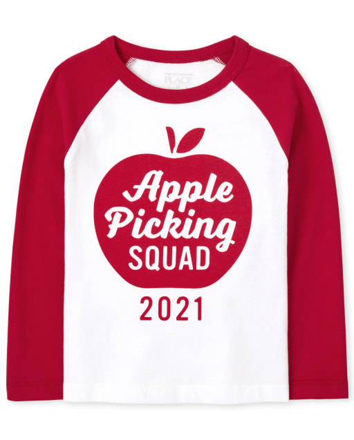 Unisex Toddler Matching Family Long Sleeve Apple Picking Graphic Tee