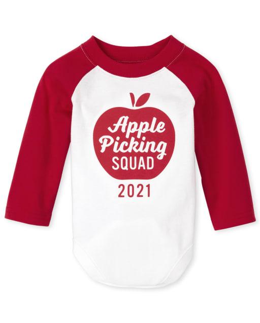 Body unisex con estampado de manzana y manga larga a juego para bebés