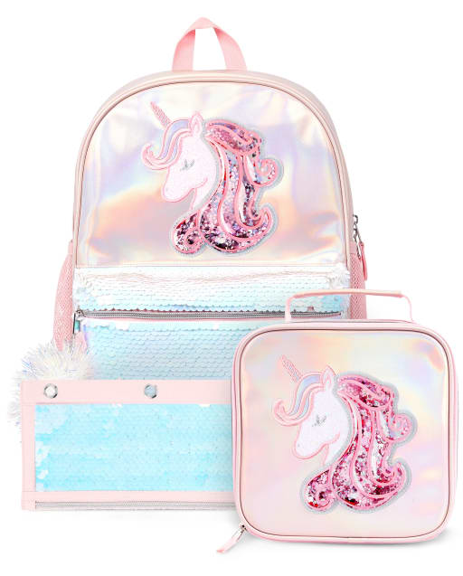 Girls Sequin Shakey Unicorn Backpack Lunch Box And Pencil Case3-Piece Set