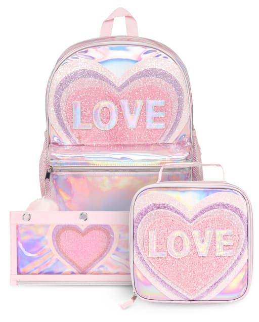 Conjunto de 3 piezas de mochila con purpurina Love para niñas