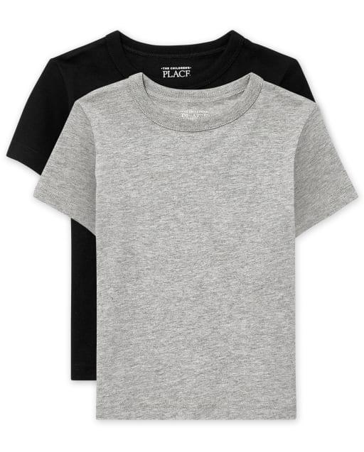 Paquete de 2 camisetas básicas para bebés y niños pequeños