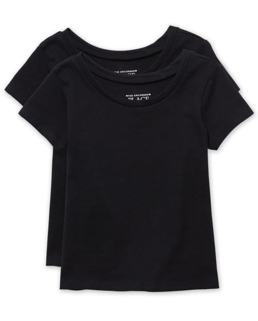 Paquete de 2 camisetas básicas de manga corta para bebés y niñas pequeñas