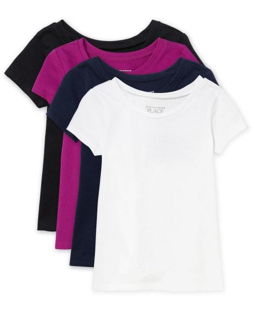 Paquete de 4 camisetas básicas de manga corta para bebés y niñas pequeñas