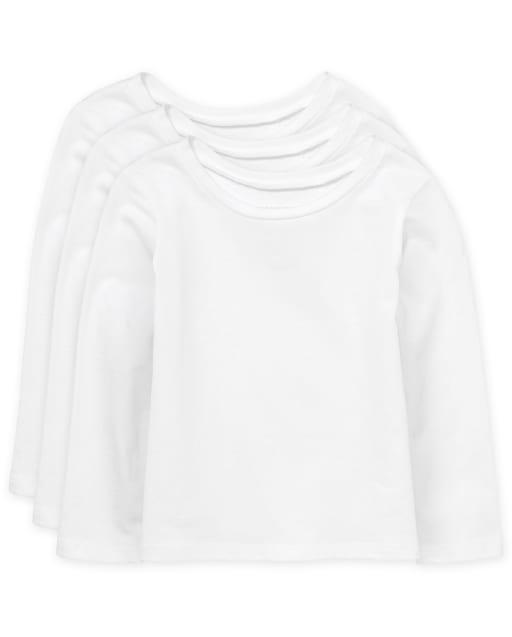 Paquete de 3 camisetas básicas de manga larga para bebés y niñas pequeñas