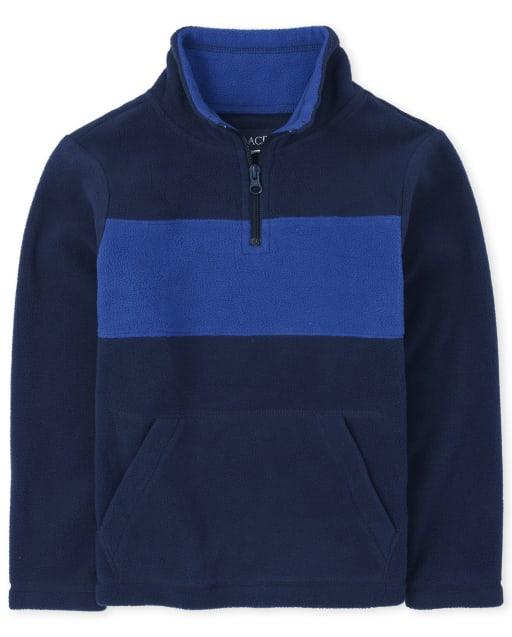 Boys Long Sleeve Colorblock Microfleece Half Zip Pullover