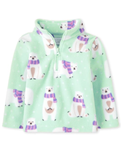 Toddler Girls Long Sleeve Polar Bear Print Microfleece Half Zip Mock Neck Pullover