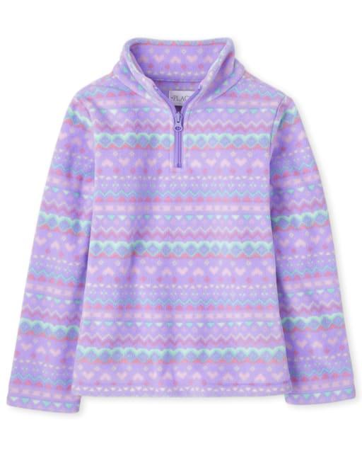Girls Long Sleeve Print Microfleece Half Zip Mock Neck Pullover