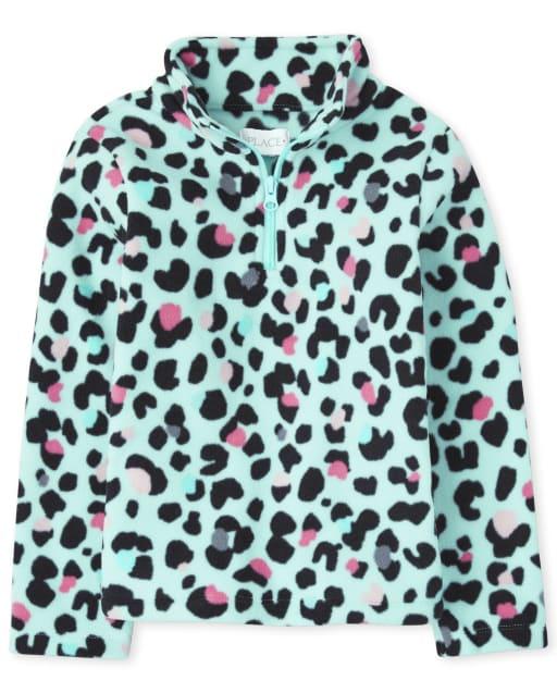 Jersey de manga larga de microfibra con media cremallera y cuello simulado para niñas