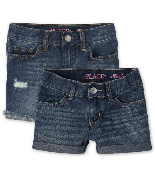 Pack de 2 pantalones cortos de mezclilla para niñas