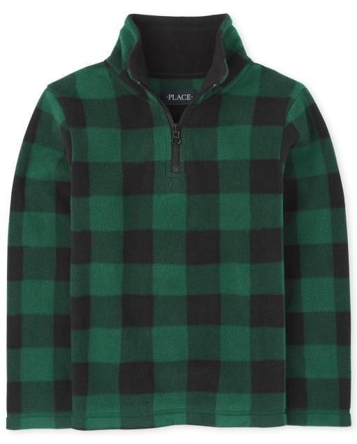 Boys Long Sleeve Buffalo Plaid Microfleece Half Zip Pullover