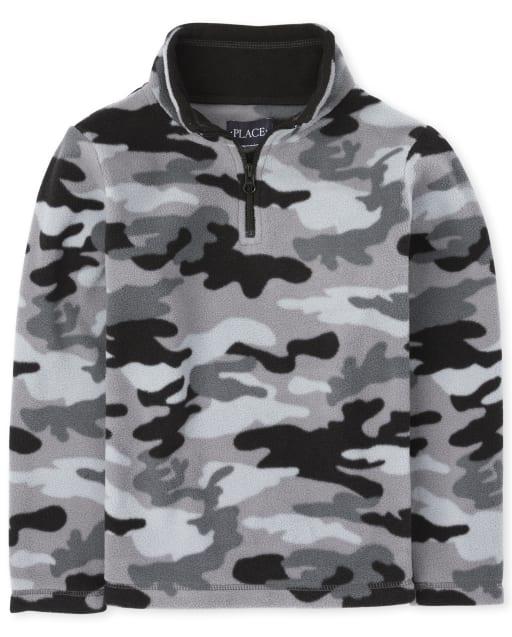 Boys Long Sleeve Camo Microfleece Half Zip Pullover