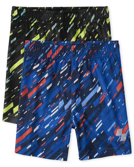Pantalones cortos de baloncesto de rendimiento de punto con estampado deportivo PLACE para bebés y niños pequeños, paquete de 2