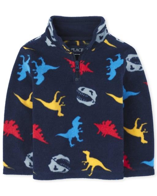 Toddler Boys Long Sleeve Dino Microfleece Half Zip Pullover