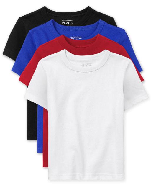 Paquete de 4 camisetas básicas para bebés y niños pequeños